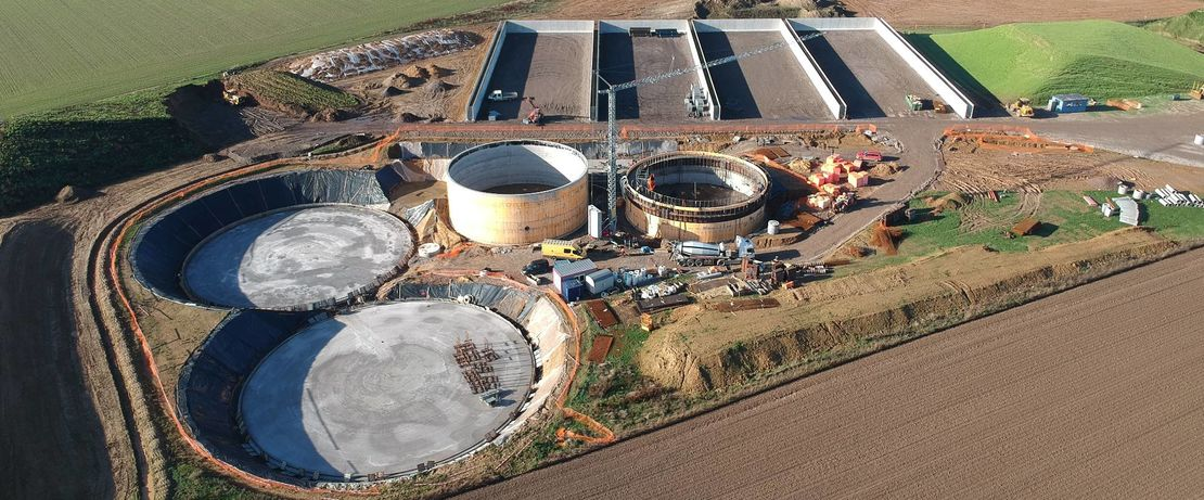 The biogas plant built by Prodeval in the Walloon region of Belgium produces 1,400 Nm³/h biogas per year from 55,000 tons of organic matter (©Prodeval).